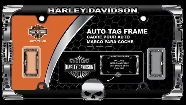 Picture of Harley-Davidson Badge and Skull 2-n-1 Chrome Frame